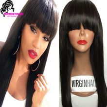 100% Virgin Brazilian Full Lace Human Hair Wigs With Bangs/Glueless Lace Front Wig Straight Full Lace Wig For Black Woman Stock(China (Mainland))