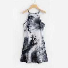 47ddfe2597e Water Color Cami Dress 2018 New Summer Tie Dye Fit And Flare Women Dress  Spaghetti Strap Casual Mini Dress