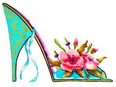 Fine Art Print Flower Shoes -Watercolor Painting . Summer colors. TG