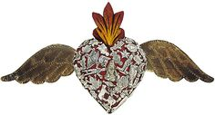 Religious Figures Collection - Red Winged Heart with Silver Milagros - MIL16