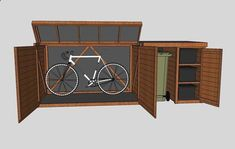 Shed Plans - www. has some outdoor storage methods for storing such items as garden tools and supplies. - Now You Can Build ANY Shed In A Weekend Even If You've Zero Woodworking Experience! Shed Storage Ideas Bikes, Diy Storage Shed Plans, Bicycle Storage, Storage Sheds, Garden Bike Storage, Carport Storage, Workshop Storage, Storage Area, Tool Storage