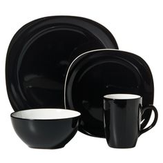 Duo Quadro 16-pc. Dinnerware Set - Black