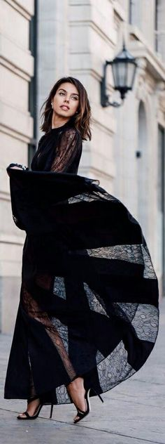 Dressed in black and Chic in the street #Luxurydotcom