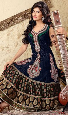 Black Net Embroidered Anarkali Suit with Stones Work Price: Usa Dollar $289, British UK Pound £170, Euro212, Canada CA$309 , Indian Rs15606.