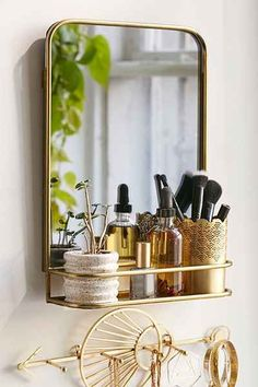 cute gold mirror shelf
