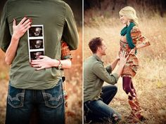I wanna do this when I get pregnant! take the first photo, then tell him just before the second one!