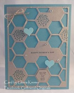 Father's Day card. Stampin up Honeycomb hello hexagon hive die and stamp set. Designed by Gloria Kremer. Facebook: Girlfriend Originals