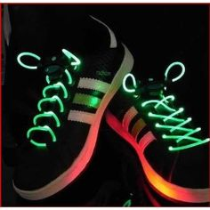 Green LED light-up shoelaces. Other colors too. $1.90