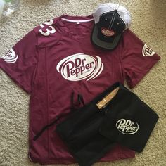 Dr. Pepper fan gear (hat, jersey & grill set) One of a kind Dr. Pepper jersey, baseball cap, and grill set - comment for separate prices Other