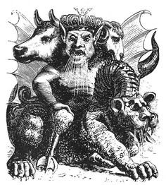 72 Demons:  ASMODAY  He is strong and powerful King. he appears with three heads, first one of a bull, second one is human and the third one of a ram. He has a tale of snake and spits fire. He rides on a dragon from hell, carries a spear and a flag. He is the master of the troops of Amaymon. He must be evoked bareheaded or in contrary he will trick you. He teaches maths and astrology and gives the ability of forecasting. He can make people ivisible and gives answers to all the questions.