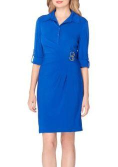 Tahari Asl Women's Jersey Shirt Dress - Blueberry - 12