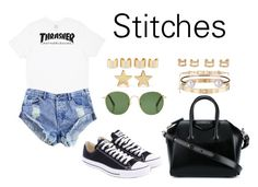 """Stitches"" by anaelle2 ❤ liked on Polyvore featuring Givenchy, HUF, One Teaspoon, Converse, The Row, Cartier, Jennifer Meyer Jewelry, Maison Margiela and Letters By Zoe"