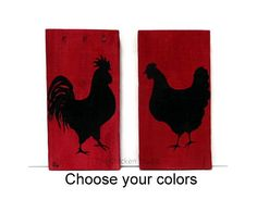 Rooster and Hen Set of 2 Chicken Silhouettes by TheChickenStudio