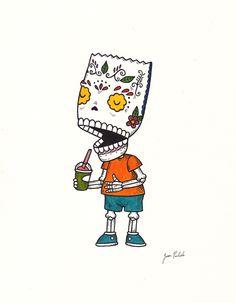 Bart Simpson Calavera #rivetgallery #rivet #josepulido #fineart #art Original art for Rivet's 04/15 exhibition.