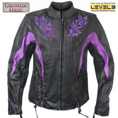 Xelement 'XS-2027' Womens Black Leather Embroidered Jacket - LeatherUp.com
