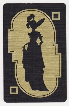 Single Deco Gold Feather Hat Lady Silhouette Vintage Swap Playing Card | eBay