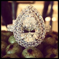 Pear shape #diamond double #halo #engagement ring.