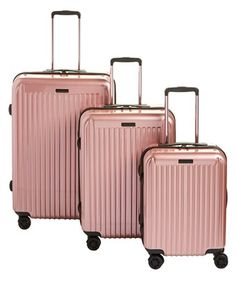 Anne Klein Dubai Hardside Spinner Luggage Set In Rose Gold Cute Luggage, Carry On Luggage, Luggage Sets, Travel Luggage, Travel Bags, Maletas American Tourister, Rose Gold Luggage, Rose Gold Suitcase, Cute Suitcases