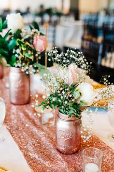 Rose gold party decorations are perfect for all kinds of party themes. Check out… Rose gold party decorations are perfect for all kinds of party themes. Check out how they were used in this stunning combination Birthday Party and Graduation Party! Graduation Table Decorations, Decoration Birthday, Gold Wedding Decorations, Graduation Ideas, Decoration Party, 18 Birthday Party Themes, Flower Decoration, Pink Graduation Party, 16th Birthday