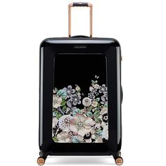 Women's Ted Baker London Large Gem Gardens Four-Wheel Suitcase (53.135 ISK) ❤ liked on Polyvore featuring bags, luggage and black