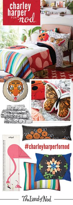 The Charley Harper for Nod Collection is filled with bedding and decor that'll make one stylish animal themed bedroom. Using intricate embroidery, delicate applique and the finest materials available, we've created a way to experience Charley Harper's timeless body of work like never before. From animal print sheets and pillows to rugs and growth charts, these colorful creatures are perfect for a girl or boy's bedroom.