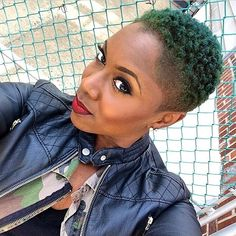 Not fond of the color but LIKE the cut! is beyond skilled behind the clippers. Tapered Twa, Tapered Sides, Twa Hairstyles, Haircuts, Tapered Natural Hair, Natural Styles, Natural Hair Inspiration, Green Hair, Black Hair