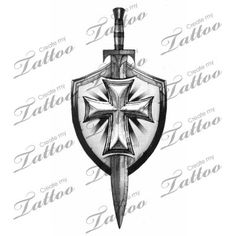 Grey Sword And Shield Tattoo Design                              …