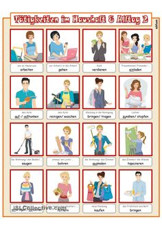 Tätigkeiten im Haushalt & Alltag 2 _ Bildwörterbuch + AB