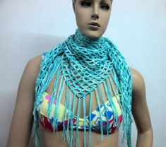 Chalina calada de tres posiciones en tejido a crochet