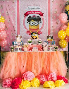 Sweet Table from a Girly Minion Birthday Party