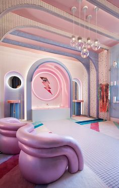 "As part of the edition of the Casa Decor in Madrid, the designer Patricia Bustos created ""Wonder Galaxy"", a retro-futuristic dressing room. Home Design, Café Design, Retro Interior Design, Design Ideas, Design Projects, Interior Design Exhibition, Interior Colors, Design Color, Design Trends"