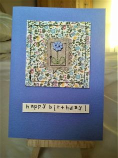 Handmade stitched card with Liberty fabric, linen and flower button - Crochet Projects Embroidery Cards, Free Motion Embroidery, Machine Embroidery, Fabric Cards, Fabric Postcards, Making Fabric Flowers, Crocheted Flowers, Flower Making, Sewing Cards