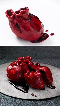 """Anatomically correct heart shaped cupcakes! Red velvet sponge cake, cream cheese frosting and blackcurrant & cherry """"blood"""""""