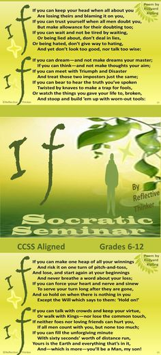 "Fun and engaging! Socratic seminar is an excellent way to infuse 21st century skills and higher order thinking skills into learning. This 62-slide, Common Core aligned PowerPoint resource with printables is a Socratic seminar featuring the poem ""If"" by Rudyard Kipling. A well-organized protocol for conducting a formal discussion or Socratic seminar based on Kipling's poem and more than ten pre- and post- seminar activities are included. #socraticseminar #poetry #rudyardkipling"