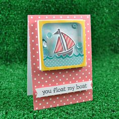 Lawn Fawn - Float My Boat + coordinating dies, #awesome coordinating dies, Spring Showers dies, Wild Rose Notecards, Hello Sunshine Mixed Sequins, Hello Sunshine 6x6 paper, Let's Polka 6x6 paper _ cute shaker card by Kelly for Lawn Fawn blog.