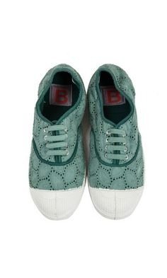 English embroidery green tennis Bensimon