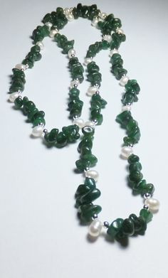 Dark Green Aventurine Freshwater Pearl and Sterling by tzteja, $50.00