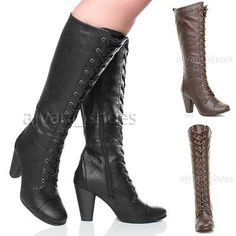 WOMENS LADIES HIGH CHUNKY HEEL LACE UP CALF KNEE MILITARY BIKER BOOTS SIZE in Clothes, Shoes & Accessories, Women's Shoes, Boots | eBay