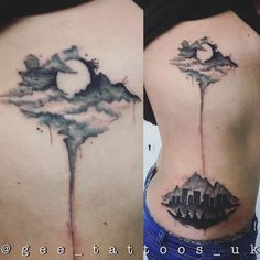 #watercolortattoo Forest, Landscape and Mountain Tattoos on #ribs