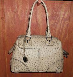 London Fog Knightsbridge Ostrich Tan/Sand Satchel Handbag...I am so buying this!!!