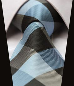 Beautiful powder blue with charcoal accent bold cross hatch pattern grooms tie