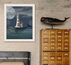 Blue Whale art painting Blue Whale print Sperm Whale wall art kids Whale nursery Ocean art painting Nautical decor - Whale Lighthouse Night