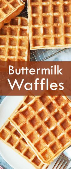 Classic Buttermilk Waffles! Light and crispy outside, tender in the middle. No mixer required.