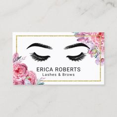Lashes & Brows Makeup Artist Modern Floral Salon Business Card Salon Business Cards, Gold Business Card, Hairstylist Business Cards, Makeup Artist Business Cards, Modern Business Cards, Business Card Design, Brows, Lashes, Gifts For An Artist