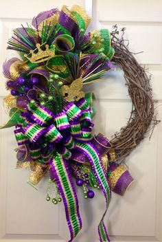 Grapevine Mardi Gras Wreath by WilliamsFloral on Etsy, $65.00