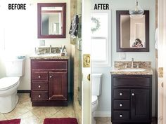 A small bathroom remodel on a budget. These cheap bathroom remodel ideas for small bathrooms are quick and easy. If you are wondering how do I decorate a small bathroom, don't miss these modern bathroom ideas on a budget. Budget Bathroom Remodel, Bathtub Remodel, Shower Remodel, Bathroom Remodeling, Remodeling Ideas, Restroom Remodel, Kitchen Remodel, Apartment Therapy, Cheap Bathrooms