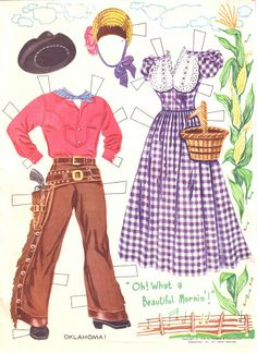 1956 Oklahoma paper doll clothes / eBay
