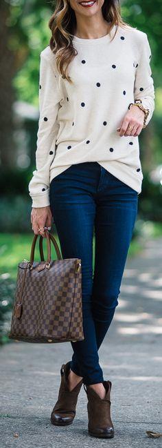 Stem Polka Dot Sweatshirt   Joe's Jeans Curvy Skinny Jeans   Louis Vuitton Damier Belmont   Vince Camuto 'Hillsy' Almond Toe Bootie