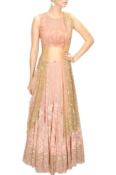 Peach thread and sequins embroidered lehenga set available only at Pernia's…