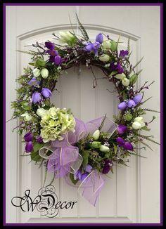 Spring Wreath Wreaths Spring Door Wreath Purple by JWDecor, $89.00